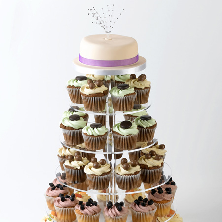 Wedding Cake and Cupcakes with Stand